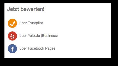 Über andere Netzwerke bewerten auf dem neuen Trustami Profil