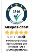 Trustami Bewertungssiegel, unter anderem können dort Bewertungen aus dem Bewertungstool Ebay importiert werden.