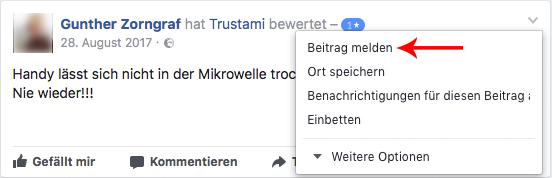 Bewertung auf Facebook löschen - Schritt 1