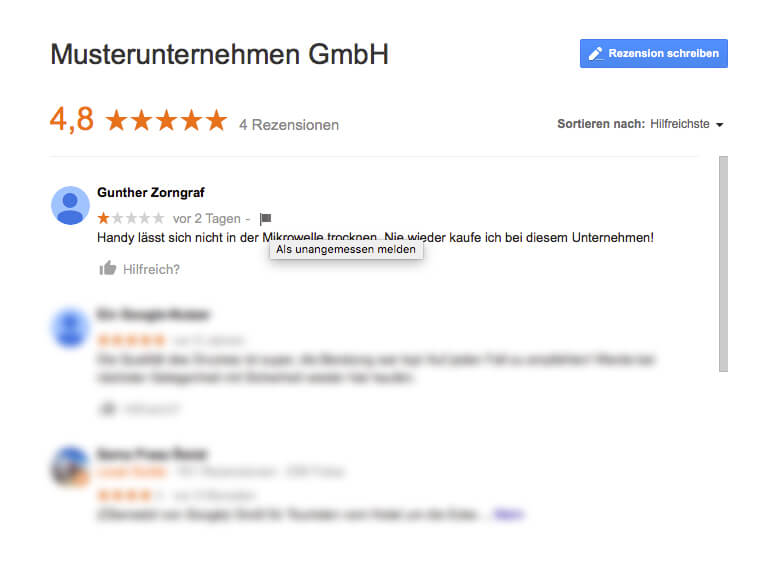 Musterrezension bei Google Places