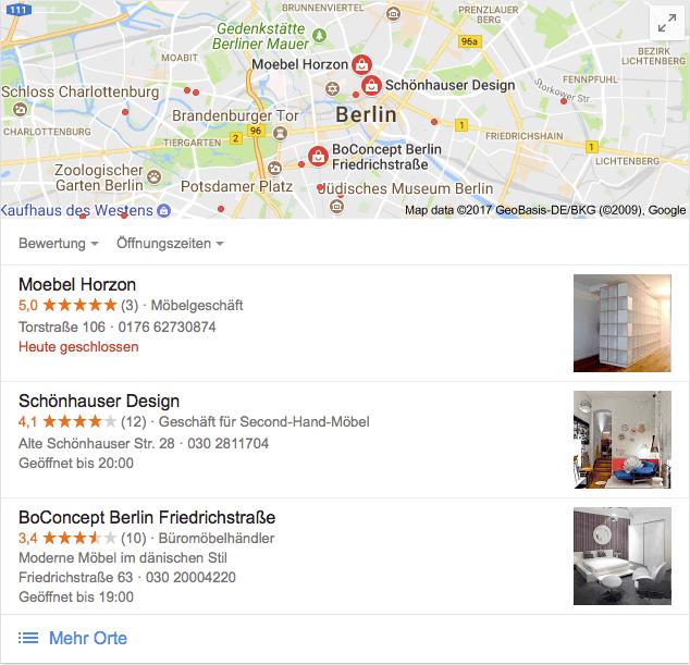 Lokale Google-Suche mit den Top-3 Ergebnissen