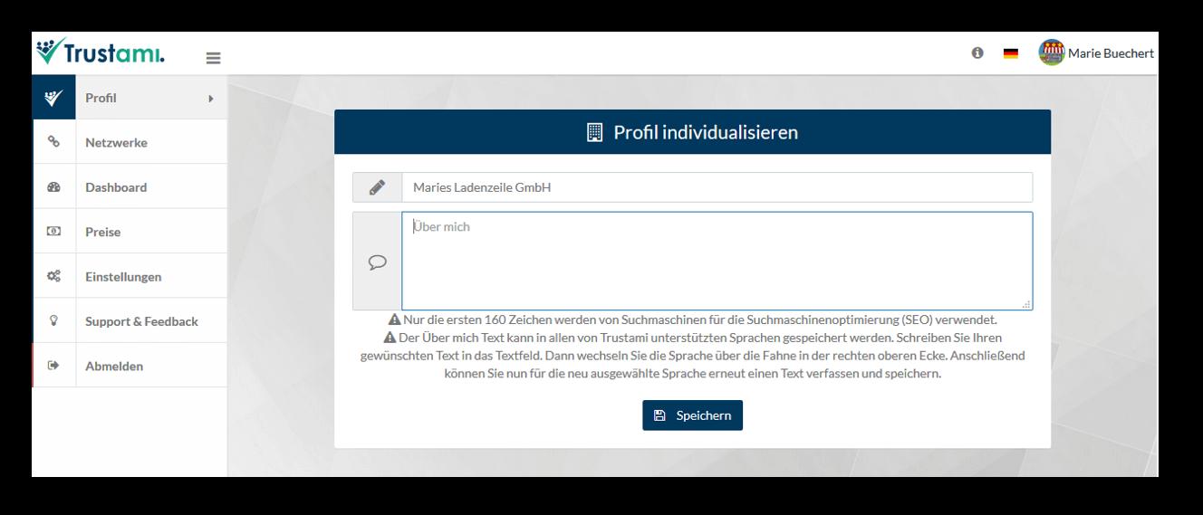 Trustami Profil individualisieren