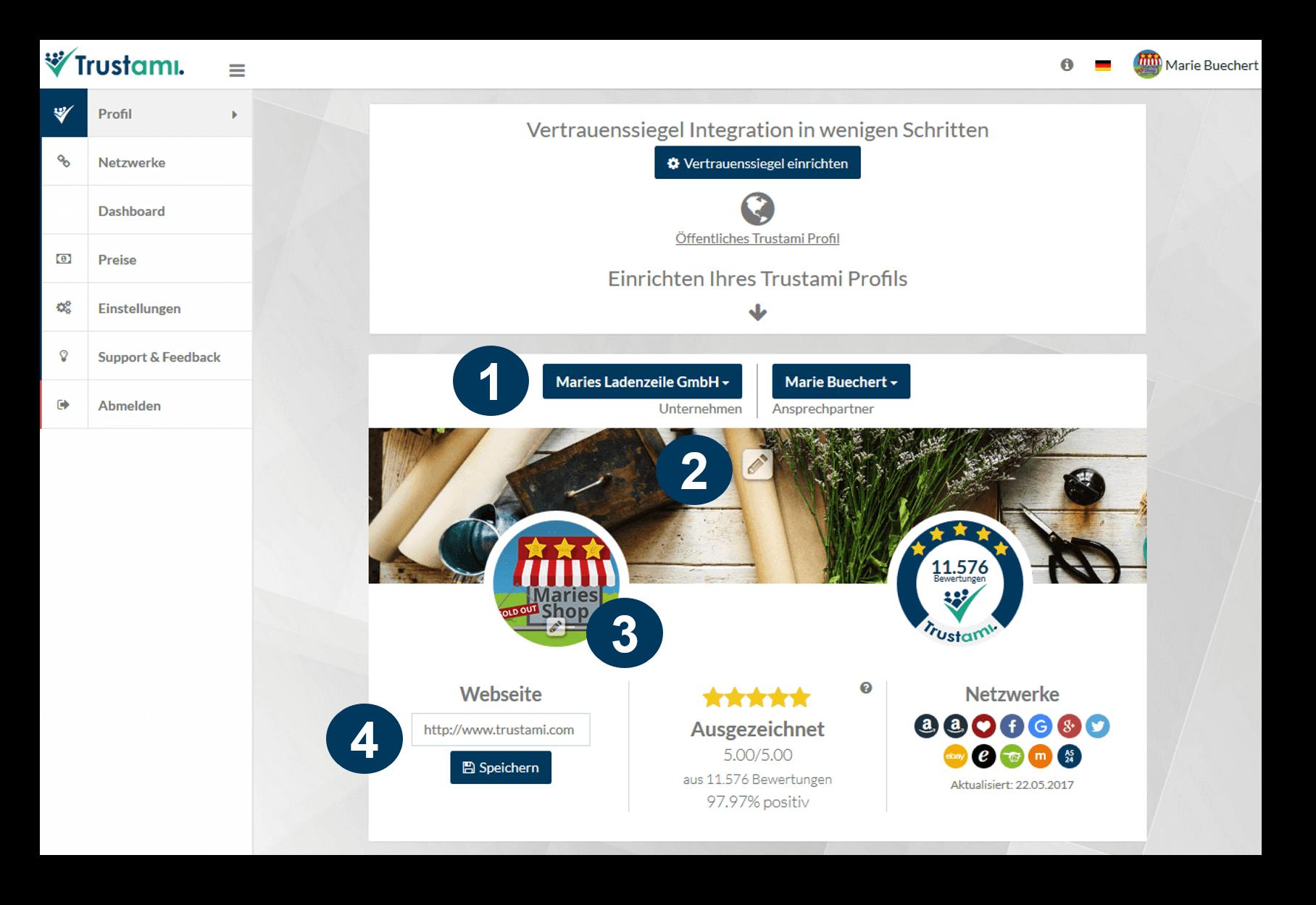 Trustami Profil einrichten Erklärung