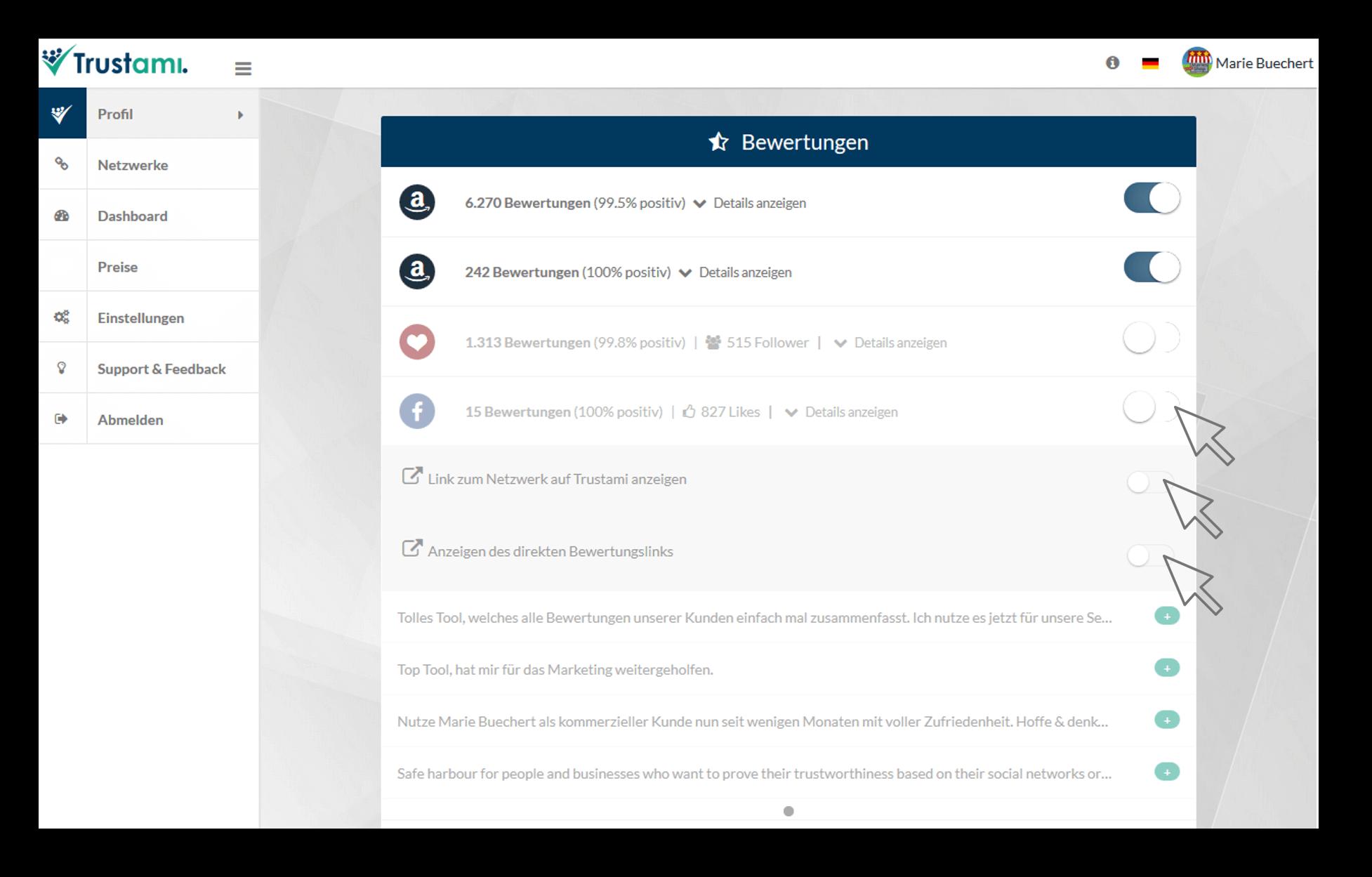 Trustami Profil Netzwerke anzeigen