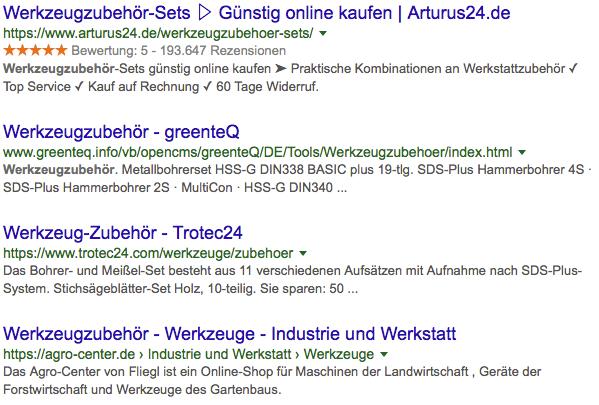Rich Snippets in der organischen Google-Suche