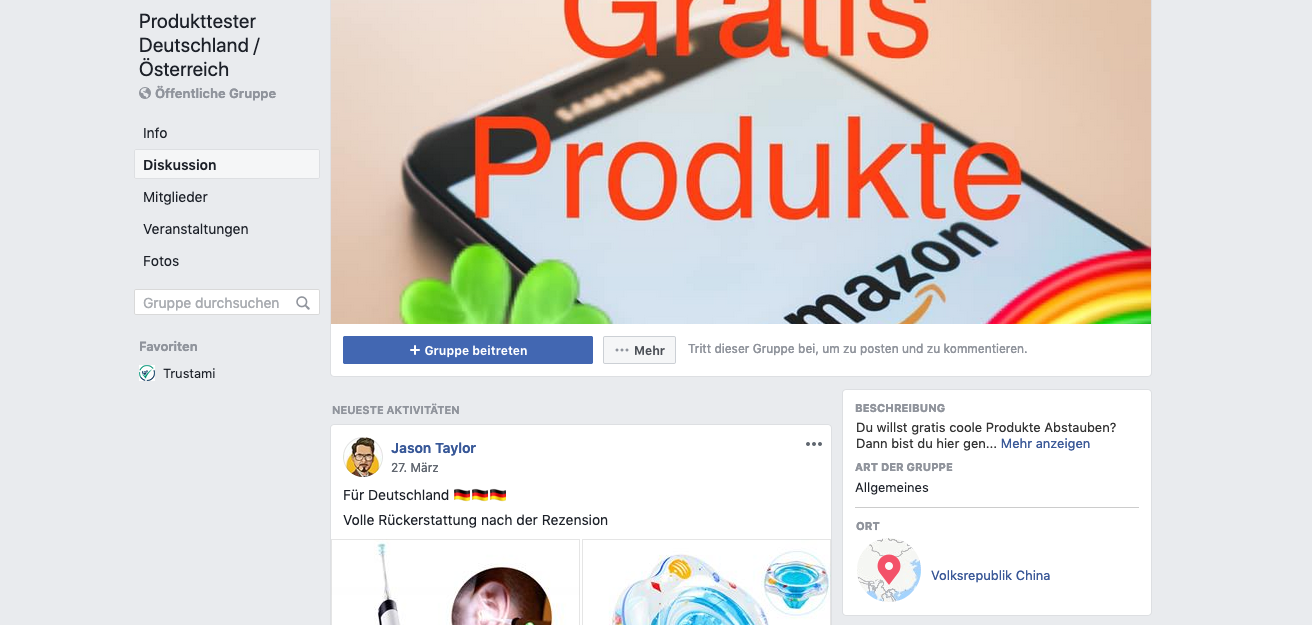 Auf Facebook gibt es hunderte Produkttester-Gruppen